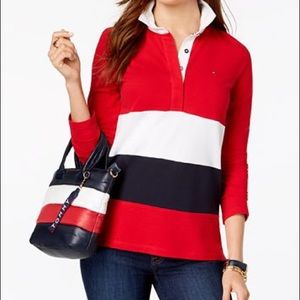 Tommy Hilfiger Women's Striped Rugby Polo Shirt